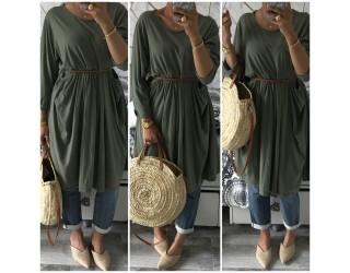 "Tunique robe ""Maxi boheme"" Kaki"