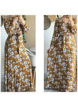 "Robe longue ""Printemps"" Moutarde"
