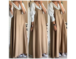 "Robe bretelle ""Satin"" Camel"
