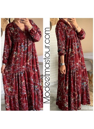 "Robe Longue ""Fiona"" Bordeaux"
