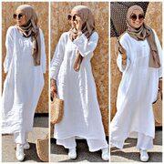 Robe lin  Pantalon de l'ensemble lin  Foulard @soeursfillah  Panier @sheinofficial  Shoes @goldengoose